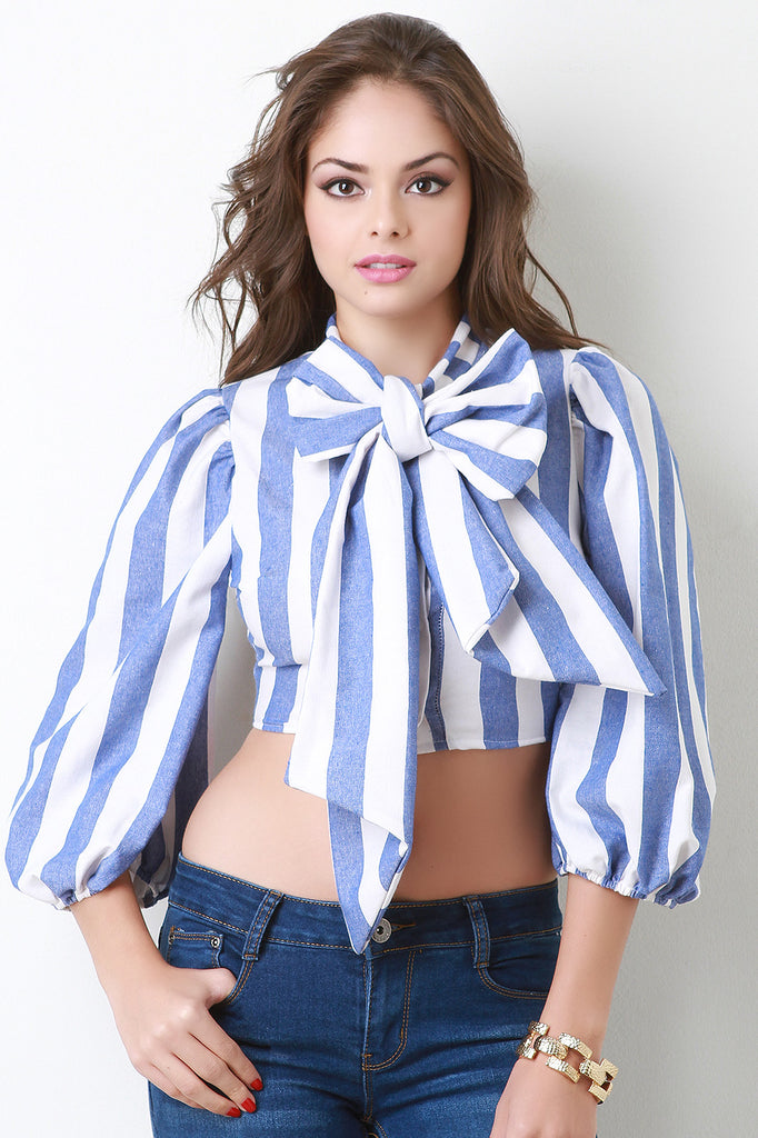 Striped Bow Collar Full Sleeve Crop Top - Kaneli Nomad Boutique