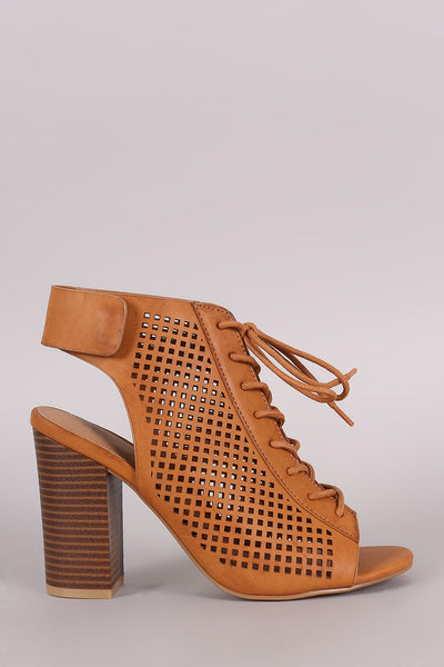 Bamboo Perforated Lace Up Chunky Heeled Mule Booties - Kaneli Nomad Boutique