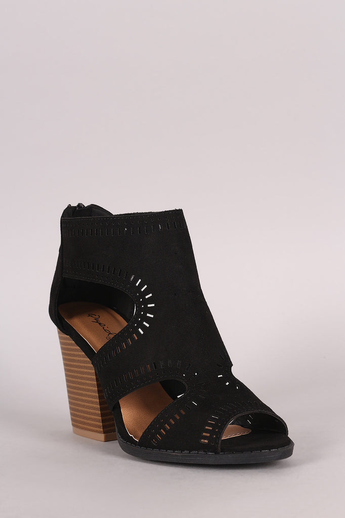 Qupid Perforated Cutout Suede Chunky Heel - Kaneli Nomad Boutique