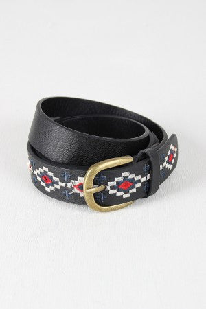 Aztec Embroidered Belt - Kaneli Nomad Boutique