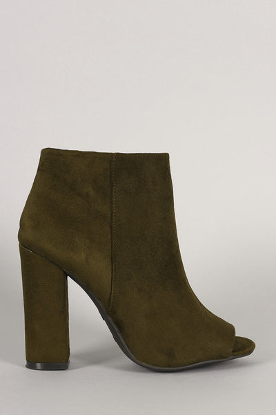 Bamboo Plain Suede Peep Toe Chunky Heeled Booties - Kaneli Nomad Boutique