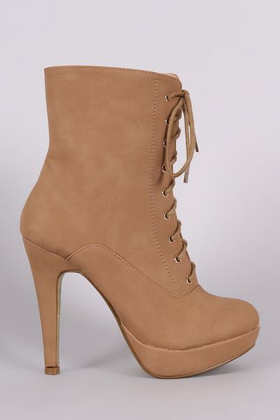 Almond Toe Lace Up Platform Heeled Booties - Kaneli Nomad Boutique