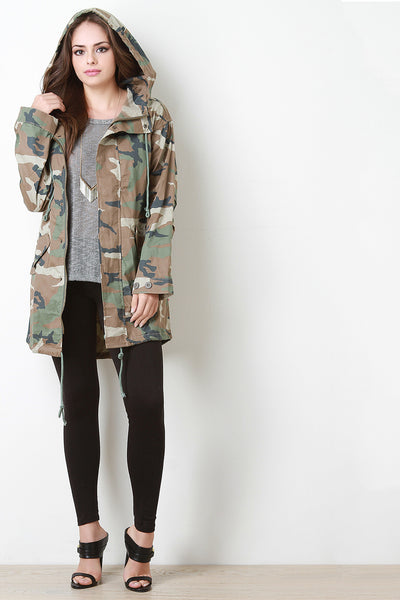 Hooded Camouflage Button-Up Jacket