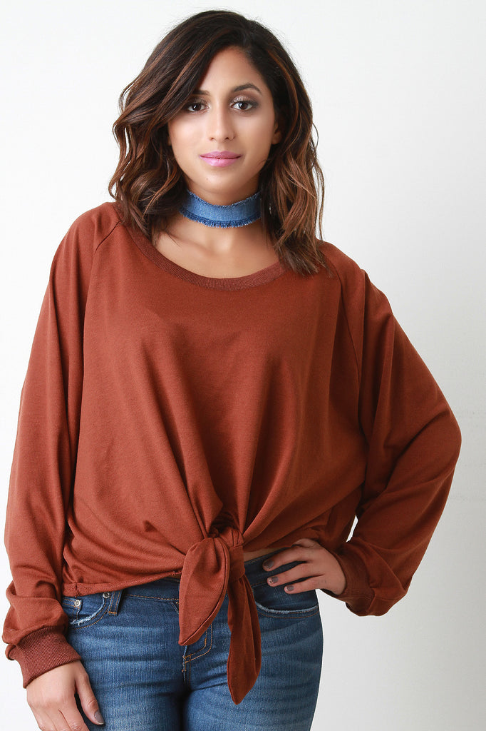 Knotted Raw Cut Fleece Pullover Sweater - Kaneli Nomad Boutique