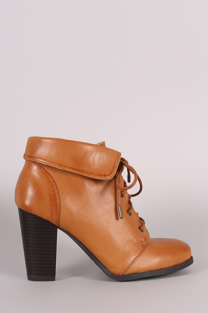 Bamboo Folded Cuff Chunky Heel Booties - Kaneli Nomad Boutique