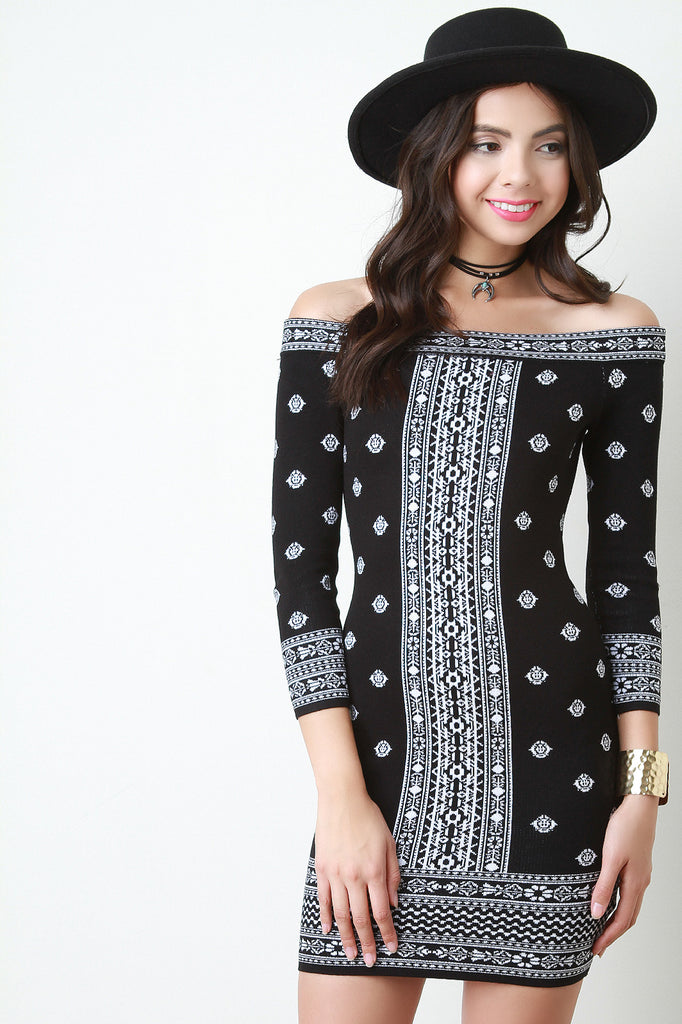Printed Off The Shoulder Bodycon Mini Dress - Kaneli Nomad Boutique