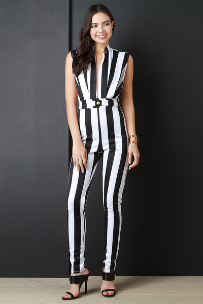 Contrast Stripped Sleeveless Jumpsuit - Kaneli Nomad Boutique