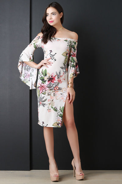 Bell Sleeves Bardot Floral Slit Dress - Kaneli Nomad Boutique