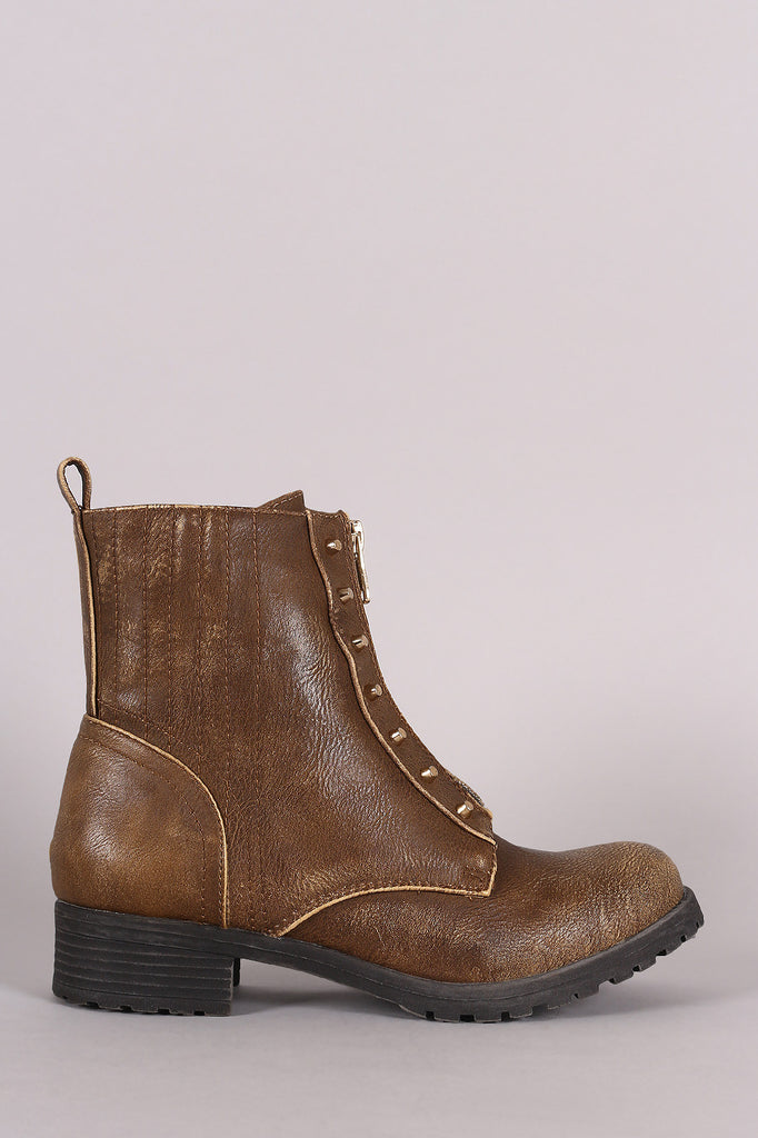 Burnished Studded Front Zip-Up Ankle Boots - Kaneli Nomad Boutique
