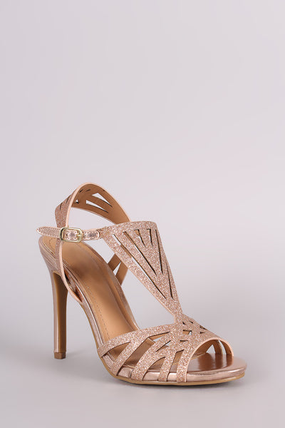 Anne Michelle Glitter Caged Dress Heel - Kaneli Nomad Boutique