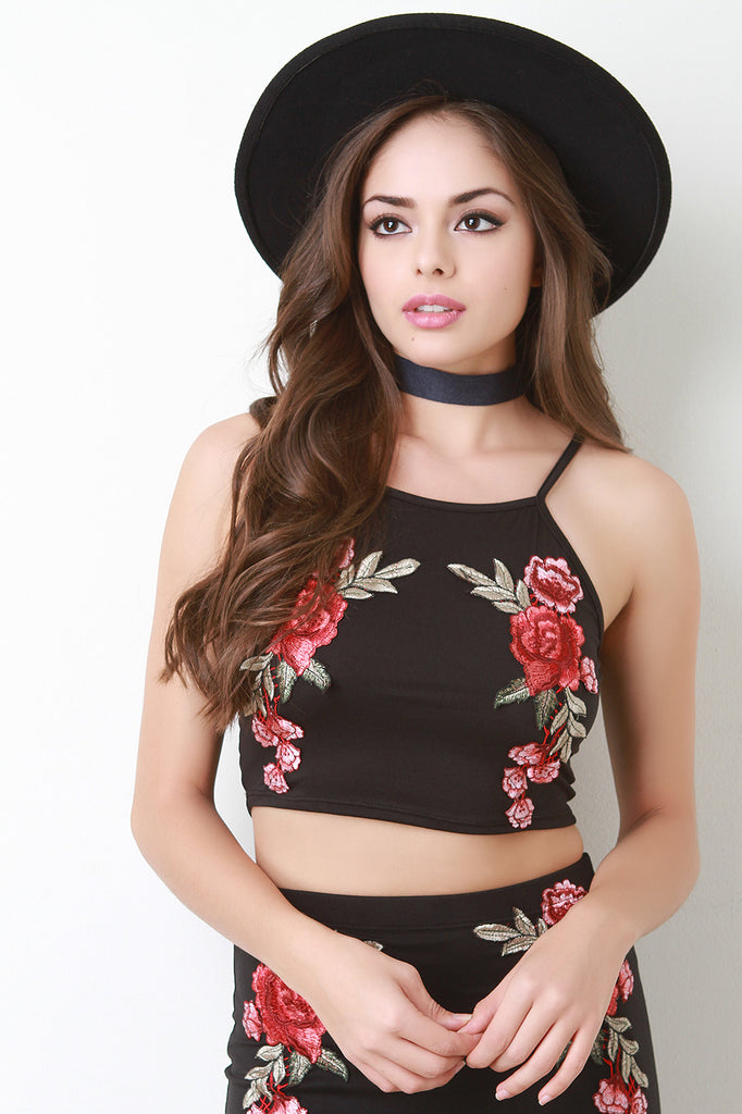 Sleeveless Rose Patch Crop Top - Kaneli Nomad Boutique