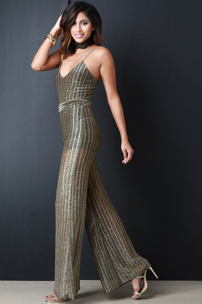 Metallic Semi-Sheer Ribbed Knit Jumpsuit - Kaneli Nomad Boutique