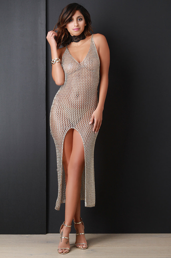 Loose Metallic Knit Open Front Dress - Kaneli Nomad Boutique