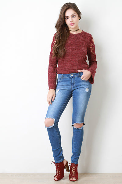 Knee Holes Distress Skinny Jeans - Kaneli Nomad Boutique