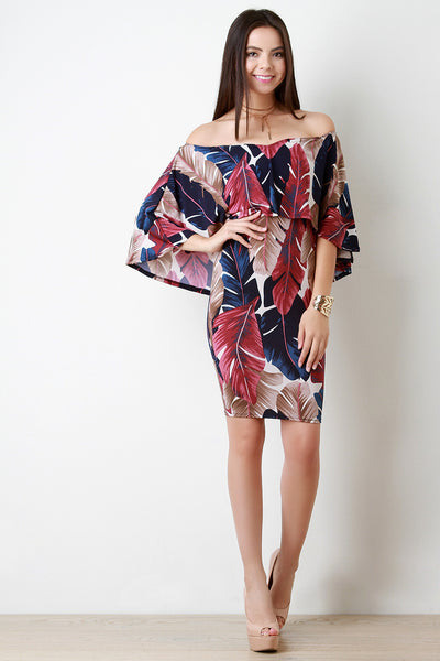 Abstract Leaves Off The Shoulder Ruffle Cape Dress - Kaneli Nomad Boutique