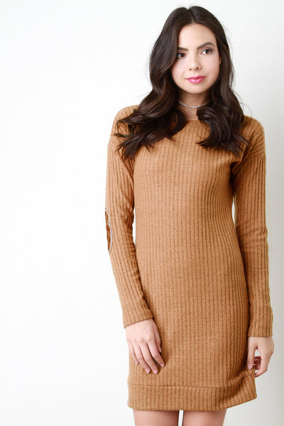 Brushed Rib Knit Elbow Patch Dress - Kaneli Nomad Boutique