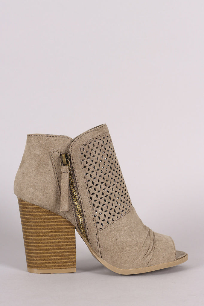 Qupid Suede Perforated Chunky Heeled Booties - Kaneli Nomad Boutique
