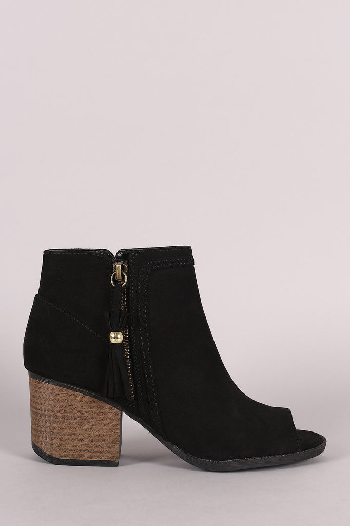 Qupid Suede Tassel Zip Up Block Heeled Ankle Boots - Kaneli Nomad Boutique