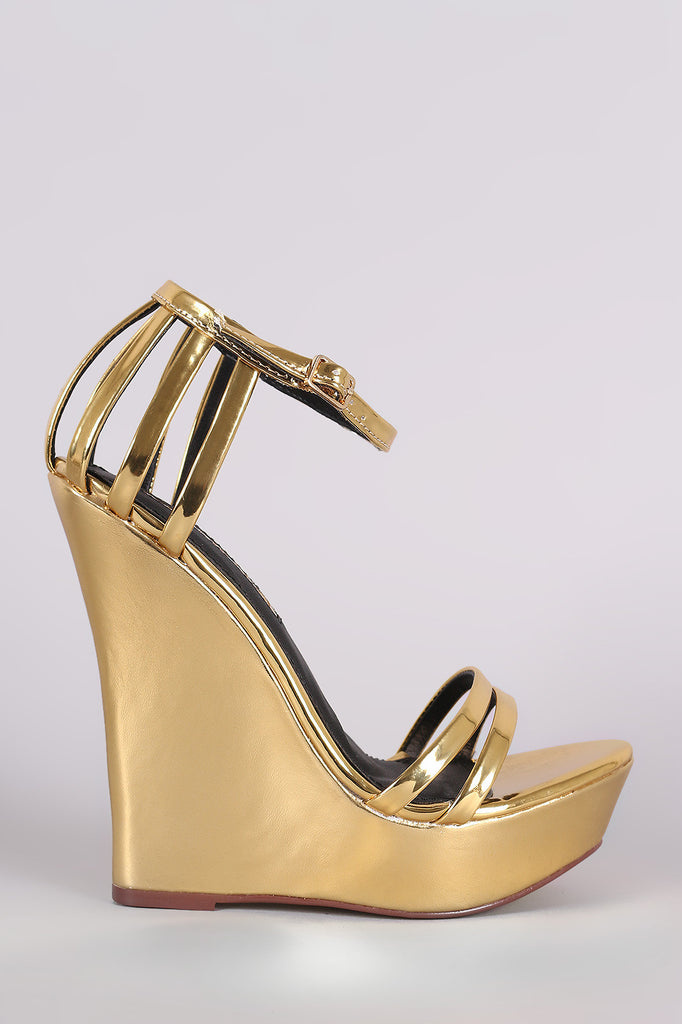 Liliana Mirror Metallic Caged Ankle Strap Platform Wedge - Kaneli Nomad Boutique