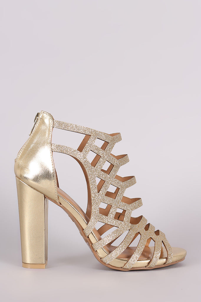 Bamboo Glitter Caged Cutout Chunky Heel - Kaneli Nomad Boutique