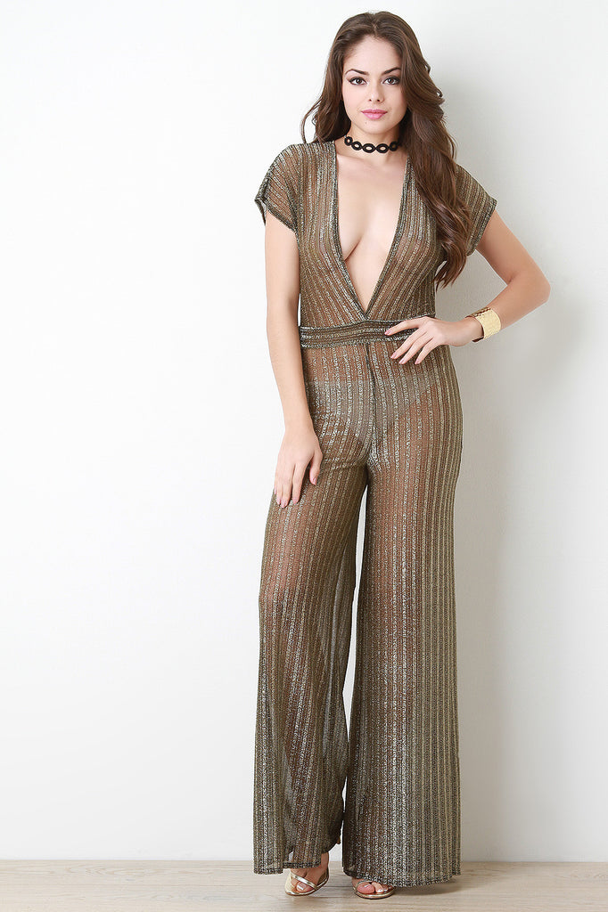 Metallic Mesh Plunge Neck Jumpsuit - Kaneli Nomad Boutique