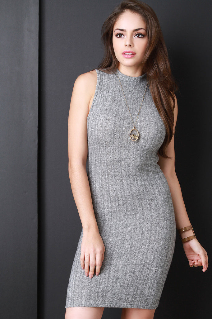 Sleeveless Mock Neck Ribbed Knit Bodycon Dress - Kaneli Nomad Boutique