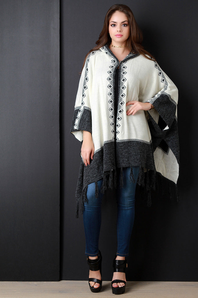 Loose Knit Contrast Geo Trim Hooded Poncho - Kaneli Nomad Boutique