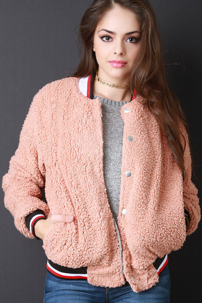 Faux Shearling Button Up Bomber Jacket - Kaneli Nomad Boutique