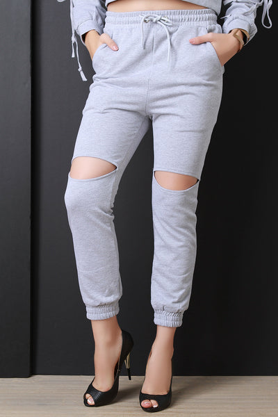 French Terry Cut Out Drawstring Jogger Pants - Kaneli Nomad Boutique