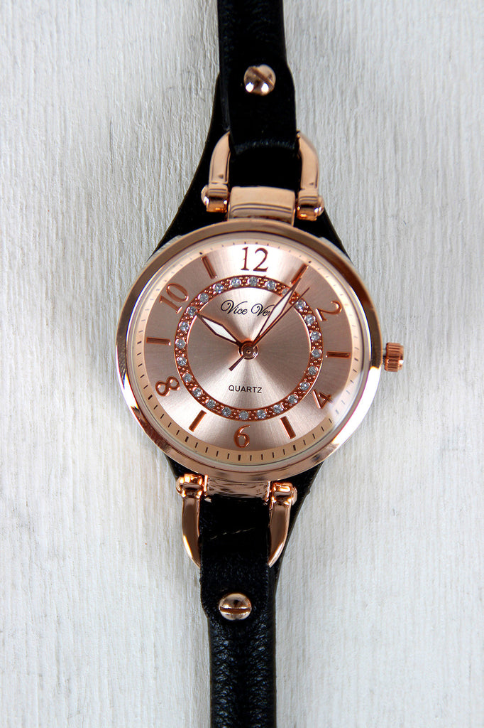 Rhinestones and Back Cover Watch - Kaneli Nomad Boutique