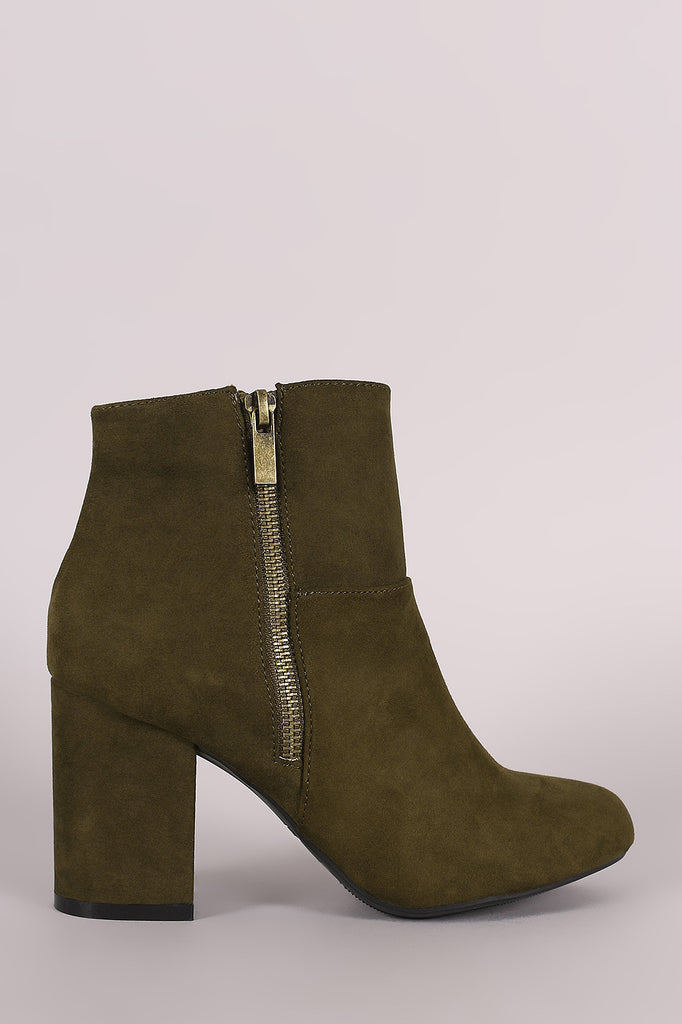 Bamboo Suede Zipper Accent Chunky Heeled Ankle Boots - Kaneli Nomad Boutique