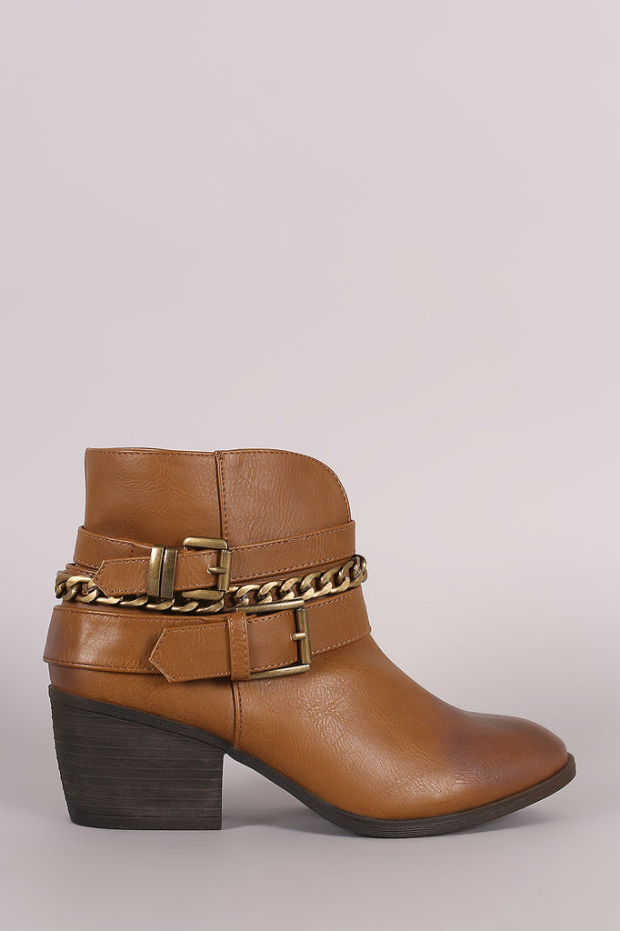 Liliana Buckled Strappy Chain Cowgirl Block Heeled Booties - Kaneli Nomad Boutique