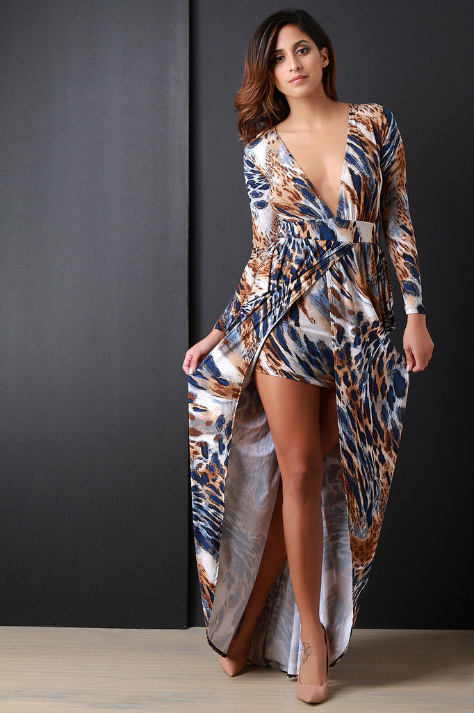 Safari Plunging V Drape Front Slit Maxi Dress - Kaneli Nomad Boutique