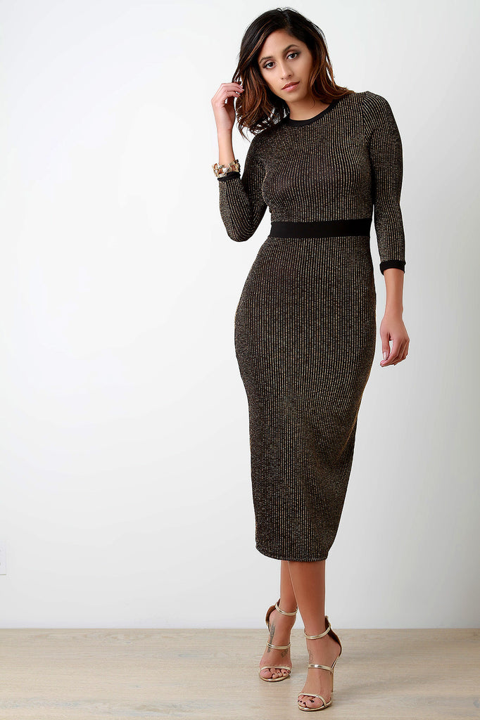 Glitter Rib Knit Quarter Sleeves Bodycon Dress - Kaneli Nomad Boutique