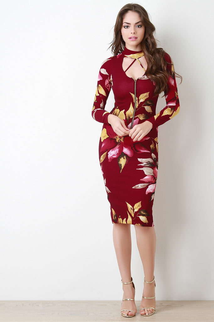 Floral Choker Zip Up Bodycon Dress - Kaneli Nomad Boutique