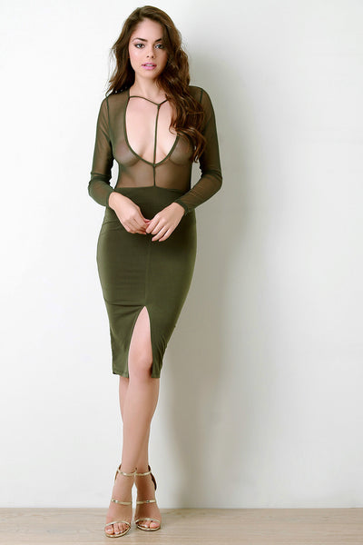 Contrast Mesh Plunging V T-Strap Yoke Dress - Kaneli Nomad Boutique