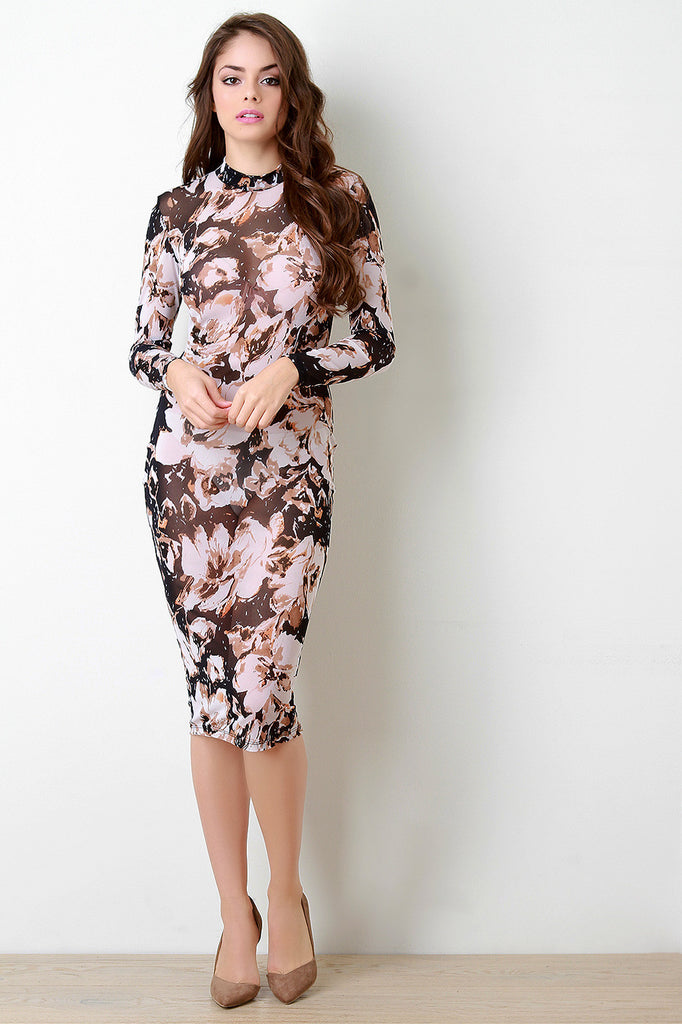 Semi-Sheer Abstract Floral Long Sleeve Bodycon Dress - Kaneli Nomad Boutique
