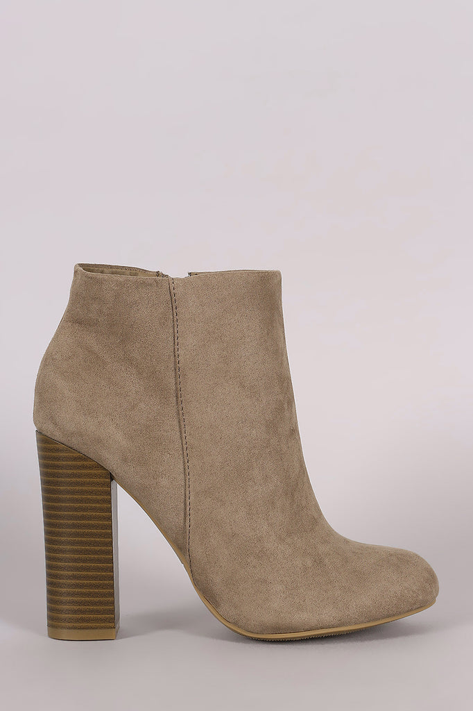 Bamboo Suede Chunky Heeled Ankle Boots - Kaneli Nomad Boutique