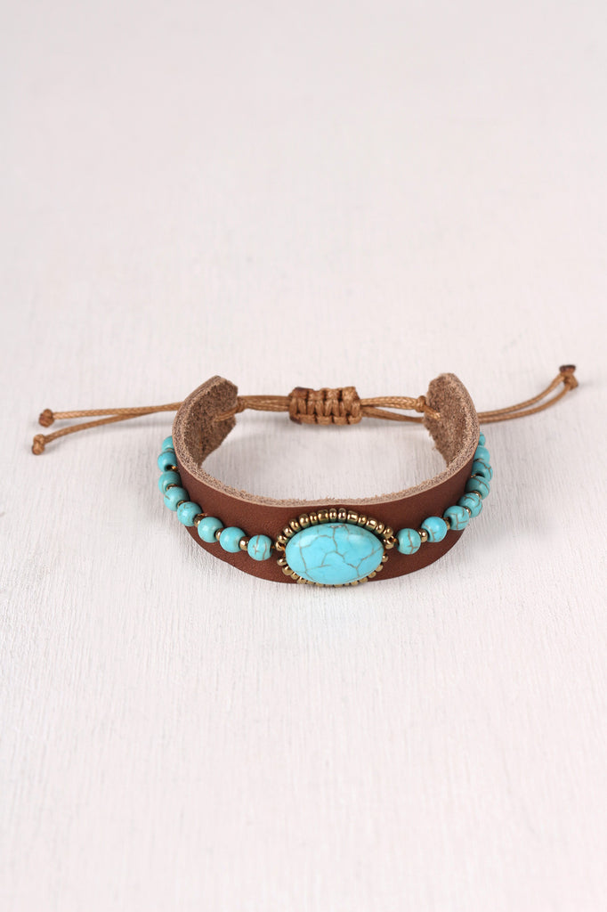 Turquoise and Leather Pull String Bracelet - Kaneli Nomad Boutique