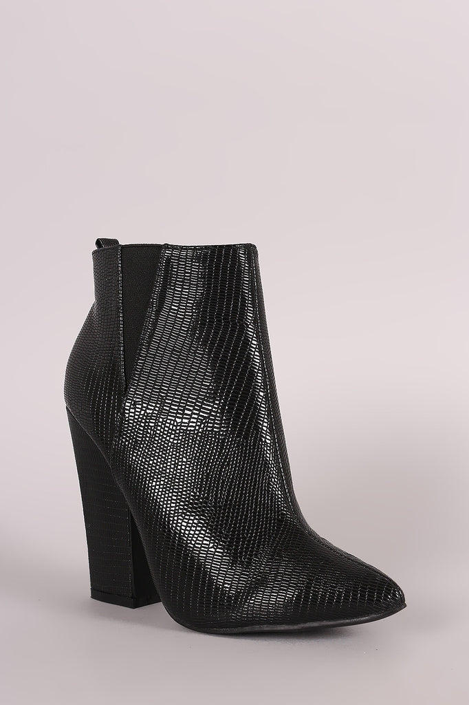 Snake Embossed Pointy Toe Chunky Heeled Booties - Kaneli Nomad Boutique