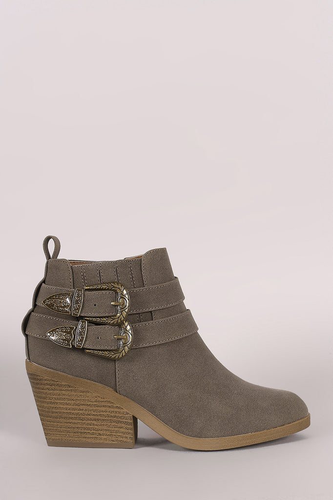 Qupid Nubuck Buckled Chunky Heeled Ankle Boots - Kaneli Nomad Boutique