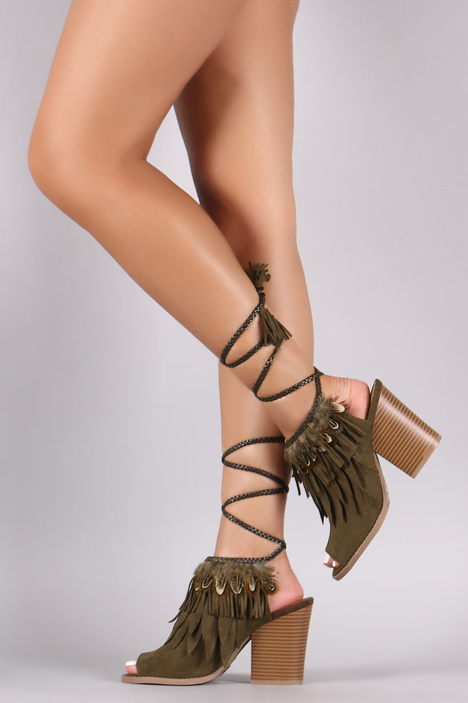 Qupid Feather Suede Peep Toe Lace Up Chunky Heel - Kaneli Nomad Boutique