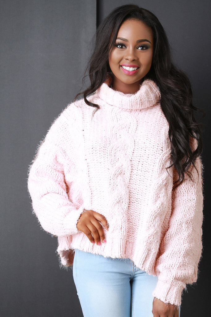 Cable Knit Turtle Neck Sweater - Kaneli Nomad Boutique