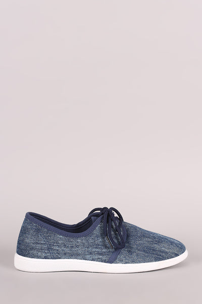 Low Top Lace-Up Denim Sneaker - Kaneli Nomad Boutique