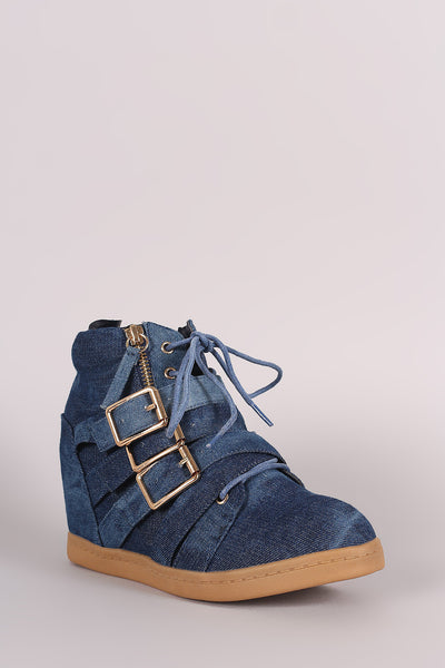 Washed Denim Multi Buckle Strap Lace Up High Top Wedge Sneaker - Kaneli Nomad Boutique