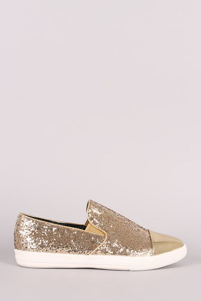 Metallic Glitter Almond Toe Slip-On Loafer Sneaker - Kaneli Nomad Boutique