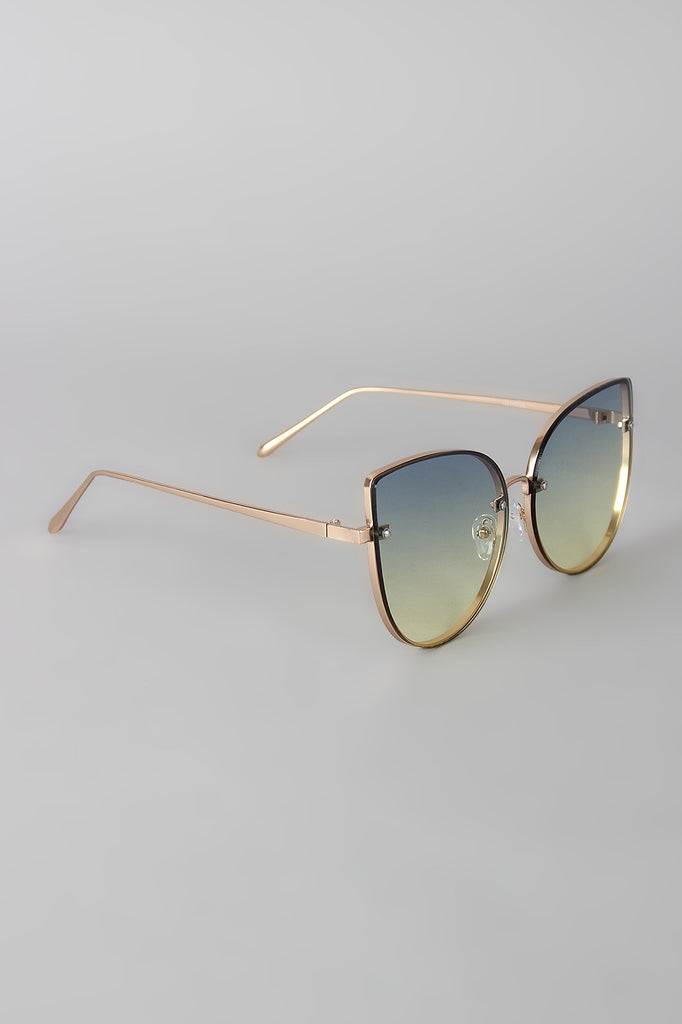 Rimless Ombre Cat Eye Sunglasses - Kaneli Nomad Boutique