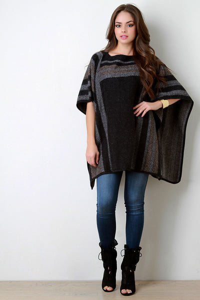 Colorblock Pattern Wool Pullover Poncho - Kaneli Nomad Boutique