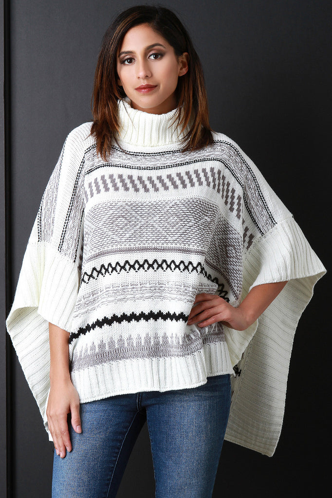 Striped Turtle Neck Poncho - Kaneli Nomad Boutique