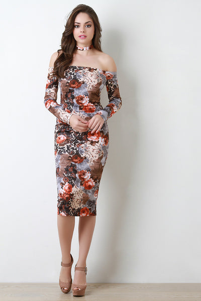 Bishop Sleeves Floral Bardot Choker Dress - Kaneli Nomad Boutique